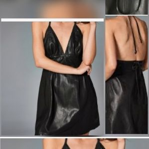 Abercrombie & Fitch Braided Leather Halter Dress